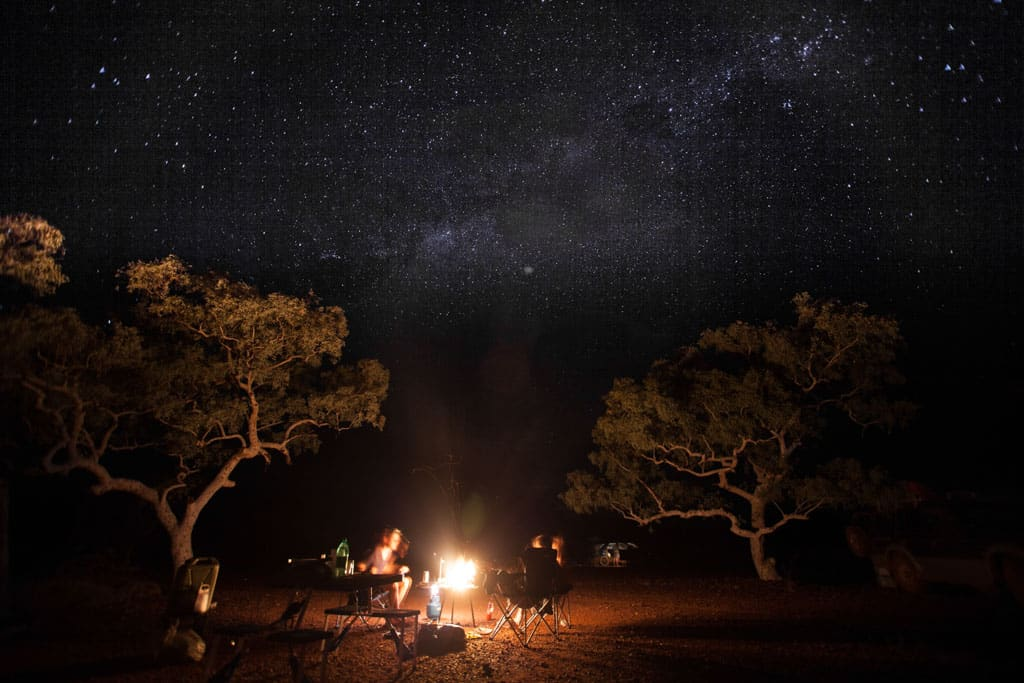 Campfire in remote Australia under the stars