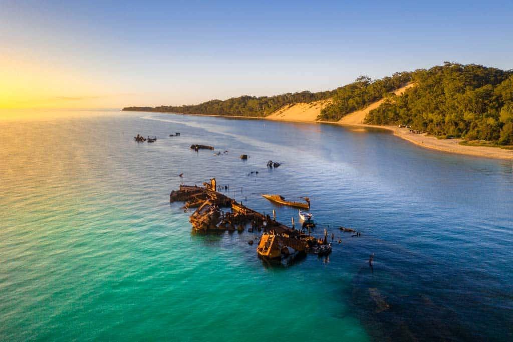 Tangalooma Wrecks Drone Photo