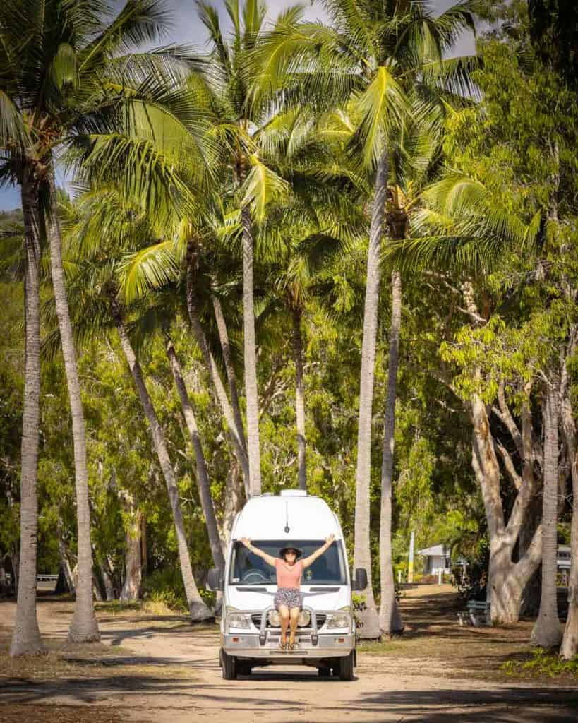 Alesha Sitting on Marlee Palm Trees Magnetic Island