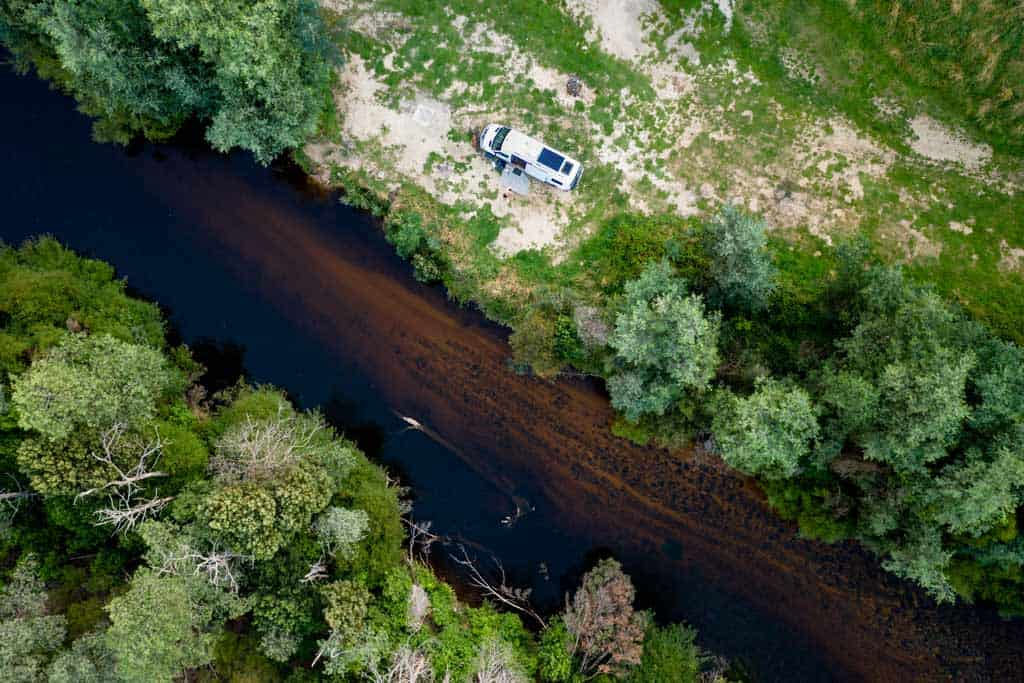 Aerial View of Free Camp in Derby Tasmania
