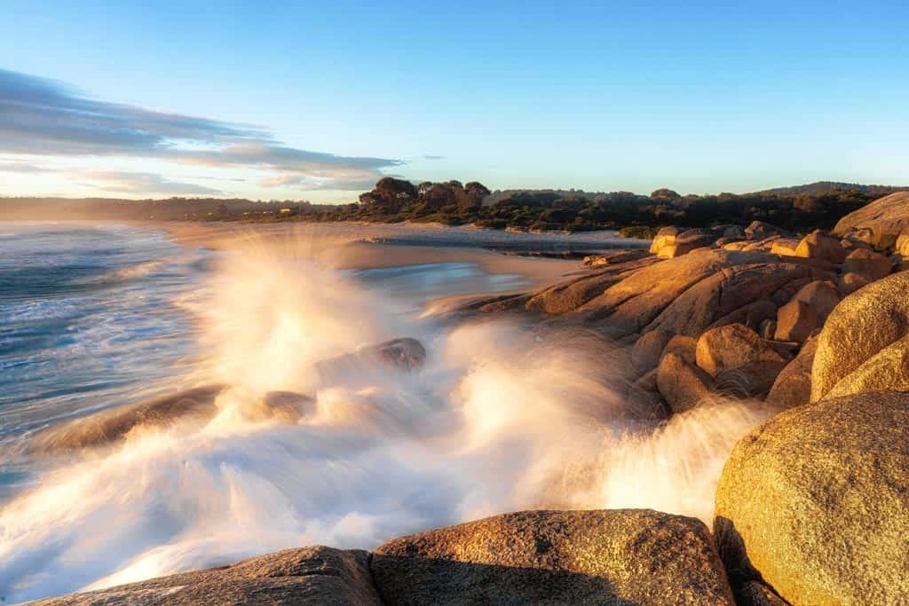 Waves Breaking on Swimcart Beach in Bay of Fires