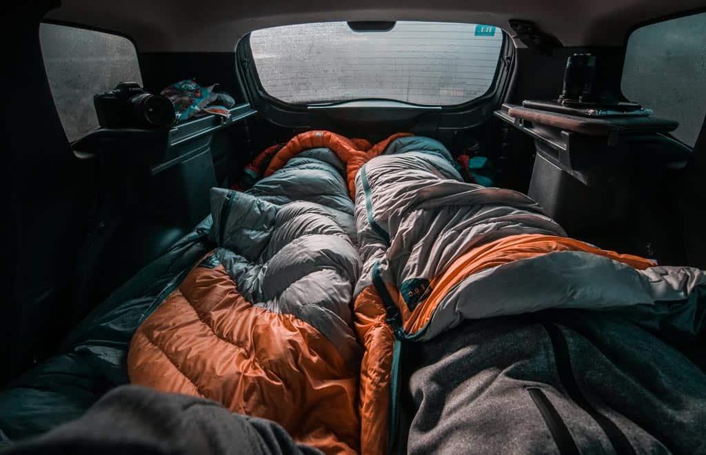 Sleeping Bags in Car