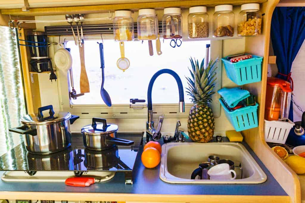Sink with Dishes in van