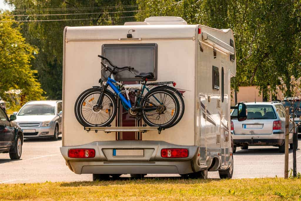 Bikes mounted to back of RV